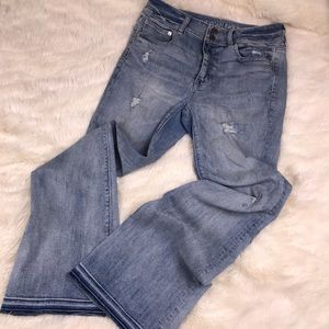 Boho Artist Flare Distressed High Rise Jeans 10